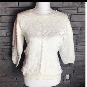 Vince White Textured Sweatshirt Small